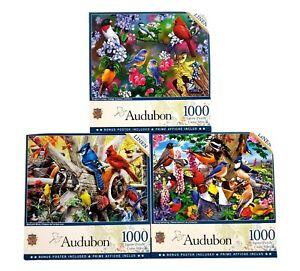 Lot of 3 Jigsaw Puzzles 1000 Pc Masterpieces Audubon Colorful Birds NIB