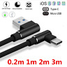 Braided 90 Degree Type C/IOS/Micro USB 2.4A Fast Charging Data Sync Charge Cable