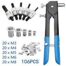 86 PCs Blind Threaded Nut Riveter Rivet Rivnut Insert Tool With Rivets M3-M8 Set