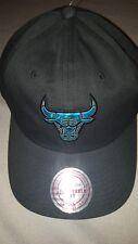 NBA CHICAGO BULLS MITCHELL & NESS STRAPBACK GAZE DAD HAT MENS BLACK BLUE NEW