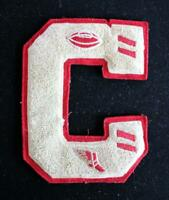 "VINTAGE 1960'S-1970'S SCHOOL RED AND WHITE PATCH 5"" X 6 1/2"""