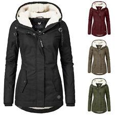Damen Winter Jacke warme Gefüttert Übergangsjacke mit Kapuze Hoodie Mantel Parka