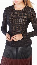 "NEW BCBG Maxazria ""Michelle"" Lace Peplum Top BLACK $148 LARGE"