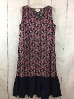 Mata Traders Size Small Dress Blue Coral Geo Print Sleeveless Drawstring Waist