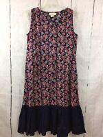 Mata Traders Size Small Dress Blue Coral Geo Print Sleeveless Drawstring Waist