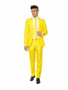 SUITMEISTER Mens Yellow Slim Fit Suit M