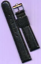 Vintage Steel Omega Buckle & Black 18mm Custom Genuine Lizard Strap Leather Line