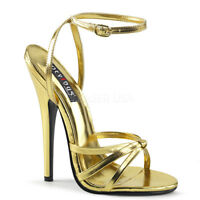 Devious DOMINA-108 Women's Gold Metallic Pu High Heels Wrap Around Strap Sandals