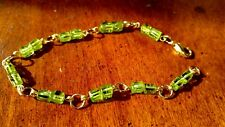 "Green Peridot nugget gemstone chain link Bracelet Gold filled 7-3/4"" made in USA"