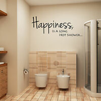 Bathroom Wall Art Sticker Quote Happiness Is A Long Hot Shower Wall Decal