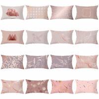 30*50cm Pink Rectangle Cushion Cover Geometric Throw Pillowcase Home Sofa Decor#