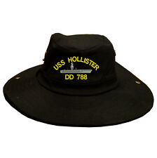 100% Cotton Military Black Boonie Bush Hiking Outdoor Hat USS HOLLISTER DD 788