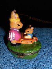 Easter Bunny Trinket Box Pill Box Rabbit Pushing Wheelbarrow Baby & Carrot