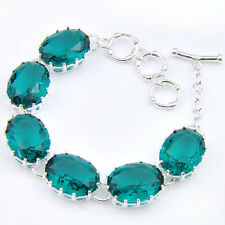 High Quality Oval Shaped Green Amethyst Gemstone Silver Charming Bracelet