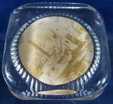 Antique Glass Paperweight With Photo Columbus & Hv Docks Toledo, Oh