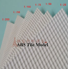 4pcs ABS Styrene Tile Roofs Patterns A4 200mm x 300mm White Model 1:100 # GY