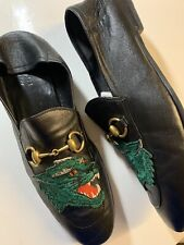 Authentic GUCCI Brixton Embroidered Tiger Black Leather Loafers Gucci Size 9