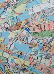 """ACEO NEW original MAP collage/vintage papers/gloss finish """"Boone"""""""