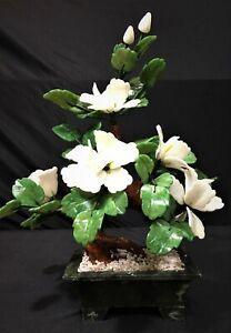 """15"""" White Jade Bonsai Flowers (99-3a)"""