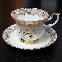 Royal Albert Mother Tea Cup and Saucer Mother's Day Floral Bone China Gold White