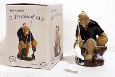 "Artmark Fine Ceramic Chinese 4"" Old Fisherman Mud Style Figurine Blue Shirt NIB"