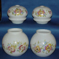VINTAGE GLASS GLOBE LAMP SHADES AND SPACER PARTS HAND PAINTED FLORAL MUST SEE
