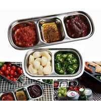 Edelstahl 2/3 Abschnitte geteilt Gericht Snack Teller Gift P8E7 W1F2