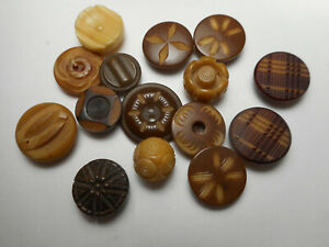 """Vegetable Ivory Lot of 15 Carved Carved Impressed Antique Buttons 5/8"""" to 1/2"""""""