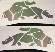 2 metallic silver vinyl HAPPY RHINO Decals, animal car 4x4 jeep. funny sticker