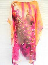Sheer Chiffon Beach Pool Cover Cup Peacock Kimono Top Tunic Dress Wrap Fuschia