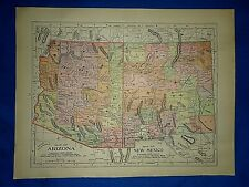 Vintage 1908 Atlas Map ~ ARIZONA & NEW MEXICO TERRITORY Old & Original Free S&H