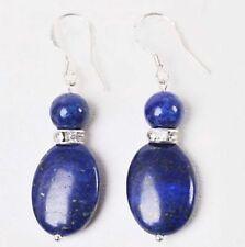 Fashion jewelry ladys Natural 8mm blue Lapis lazuli gems hook dangle earrings AA