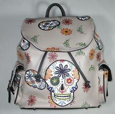 NEW CONCEALED CARRY BACKPACK WITH SKULLS AND FLOWERS - BEIGE