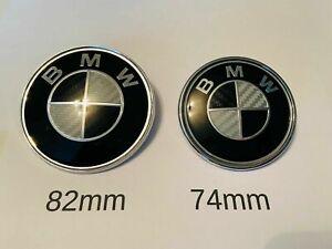 B M W Black Carbon 82mm & 74mm Bonnet Boot Badge E36 E46 E90