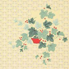 1940s Vintage Wallpaper Green Ivy Red Berries on Yellow Basket Weave