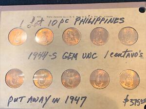 10 PC LOT 1944 Philippines 1  Centavo original choice BU