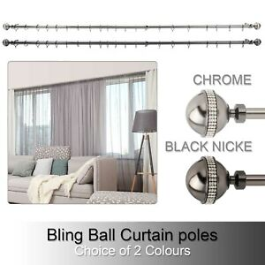 Bling Extendable Metal Curtain Pole Poles 28mm Including  Finals Rings Fittings