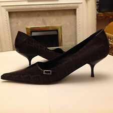 New FENDI brown leather fabric shoes, size Italy 38.5, UK 5.5