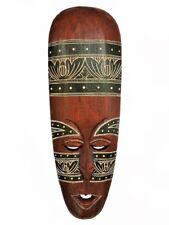 "Gorgeous 19"" x 6.5"" Unique Hand Chiseled Wood African Style Wall Decor Mask!"
