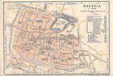 Brescia Italia per 1900 storica vecchia cartina mappa della città Map