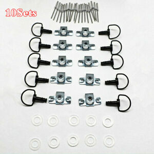 10 Sets Motorcycle 17mm Race Fairing Fasteners Kit Quick Release D-RING 1/4 Turn
