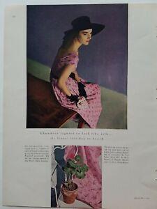1947 womens pink Tina Leser Beach dress vintage fashion ad