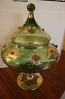 Moser Antique Bohemian Green Covered Compote Bowl with hand painted flowers