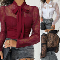 UK Womens Long Sleeve Floral Lace Top Neck Tie Cocktail Party Shirt Sheer Blouse