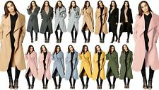 Women Italian Long Duster Jacket Ladies French Belted Trench Waterfall Coat 8-22