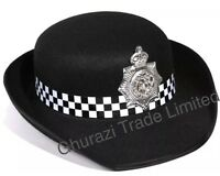 Womens British Police Officer Hat Copper Cap Police Constabulary Fancy Dress Hat