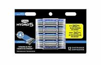 Schick Hydro 5 Sense Hydrate Razor Refills for Men, 12 Cartridges (Unboxed)