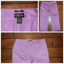 Women's Stretch Style&Co purple satin cropped dress pants slacks capris size 14
