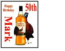 """Personalizzata THE Famous Grouse Whiskey BOTTIGLIA A4 glassa Foglio 10 """"x8"""" CAKE TOPPER"""