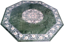 "24"" Green Marble Coffee Table Top Mother of Pearl Floral Inlay Home Decors H2888"